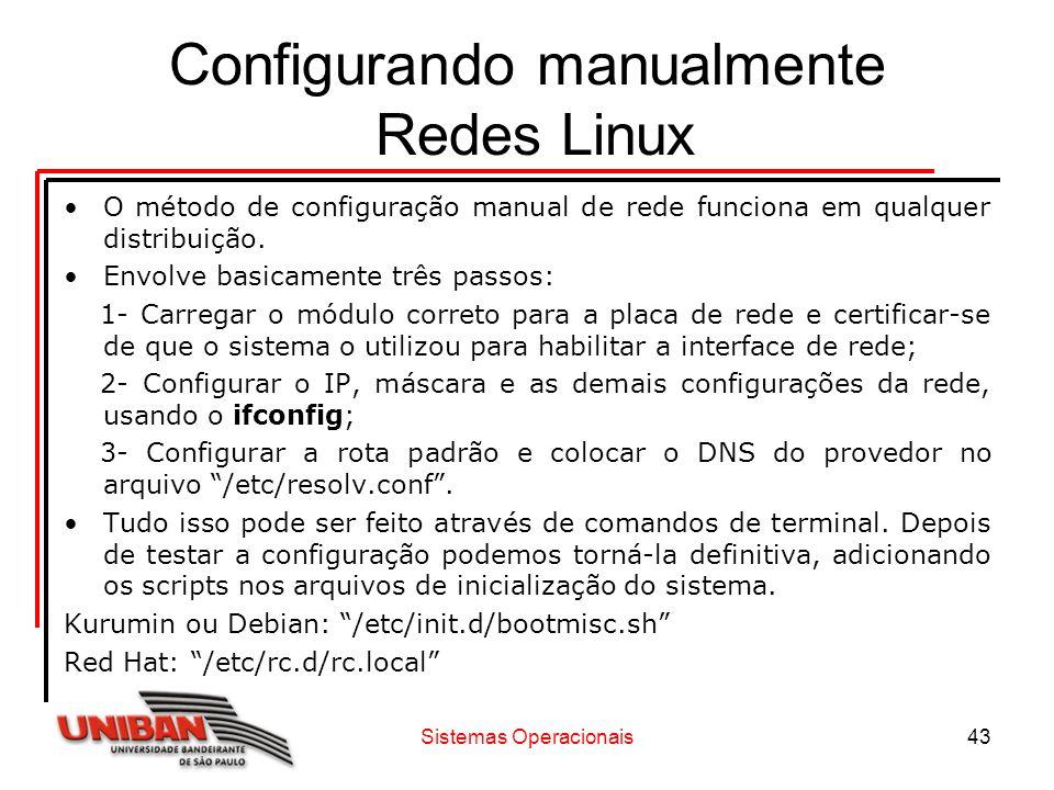 Configurando manualmente Redes Linux