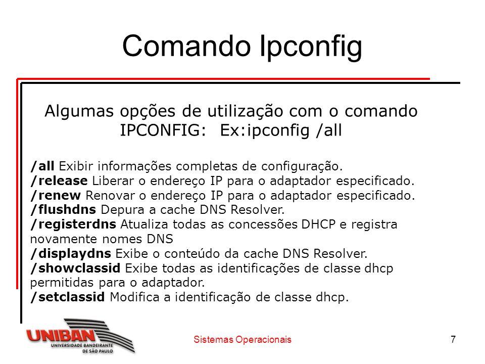 Comando Ipconfig Algumas opções de utilização com o comando IPCONFIG: Ex:ipconfig /all.