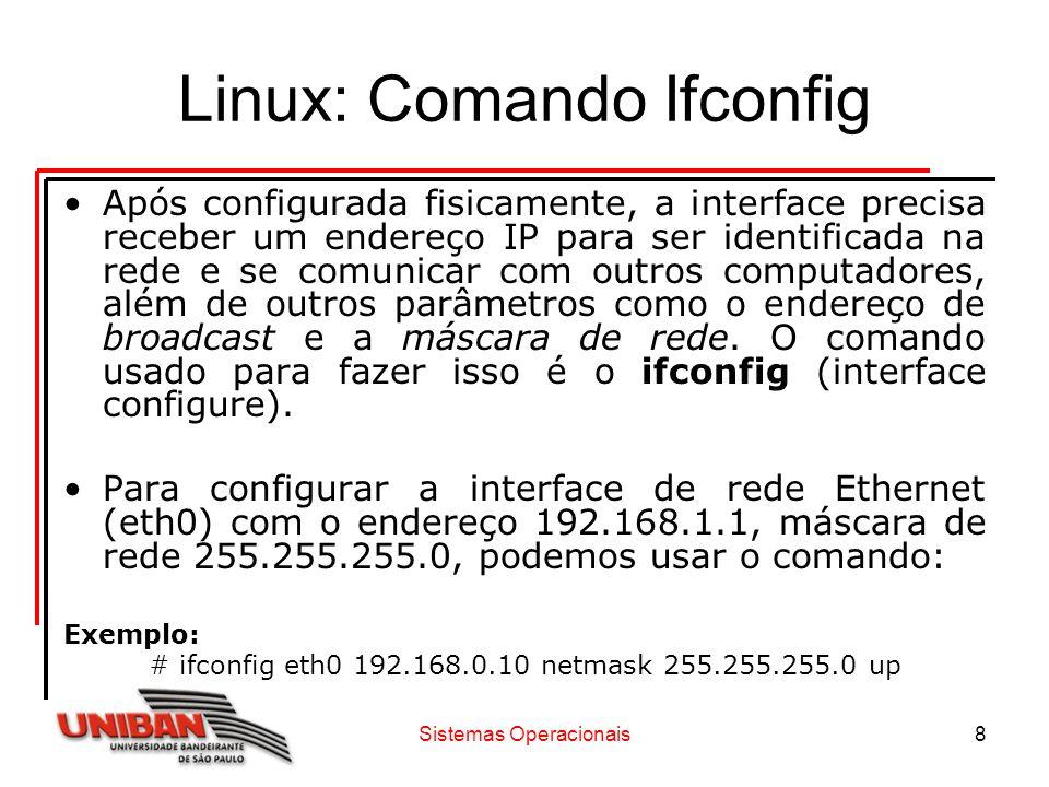 Linux: Comando Ifconfig