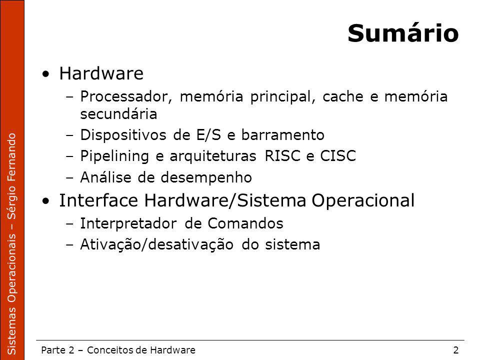 Sumário Hardware Interface Hardware/Sistema Operacional