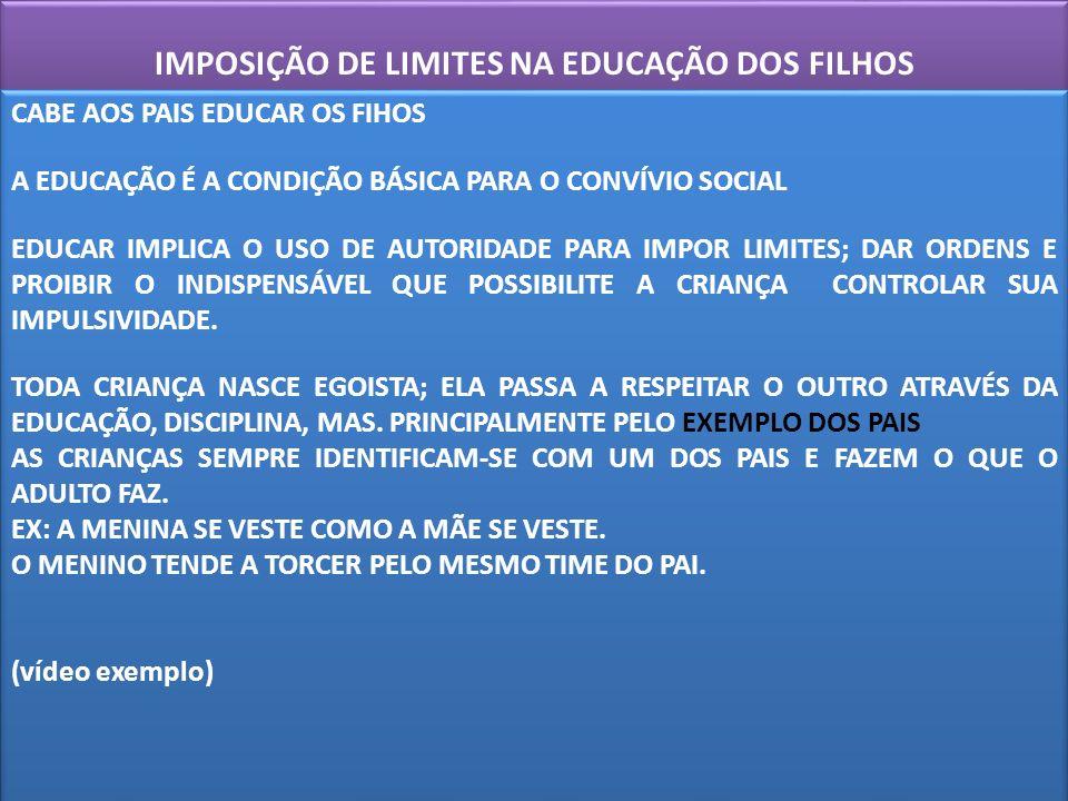 IMPOSIÇÃO DE LIMITES NA EDUCAÇÃO DOS FILHOS