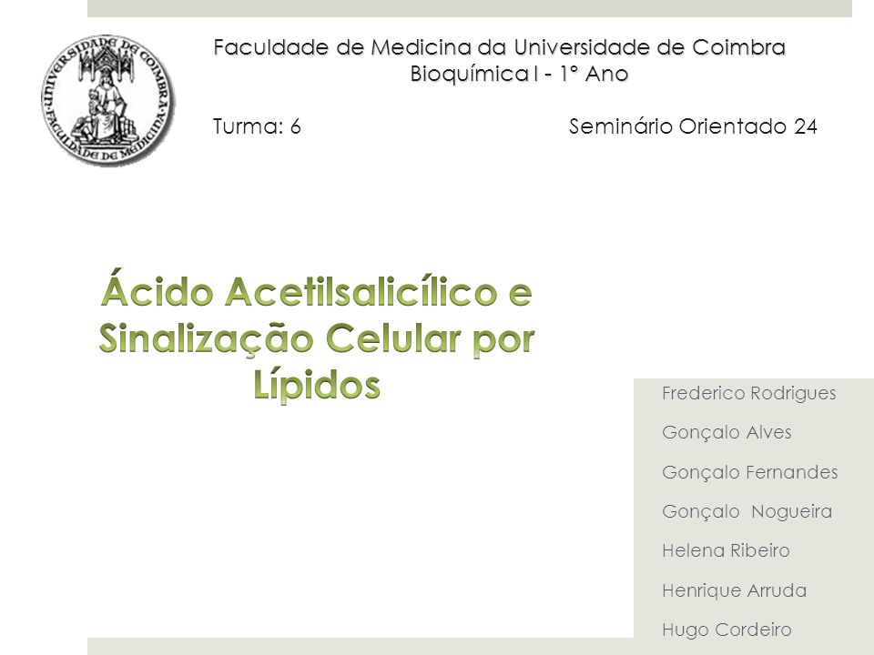 Ácido Acetilsalicílico e Sinalização Celular por Lípidos