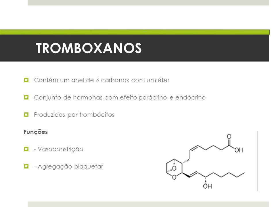 TROMBOXANOS Contém um anel de 6 carbonos com um éter