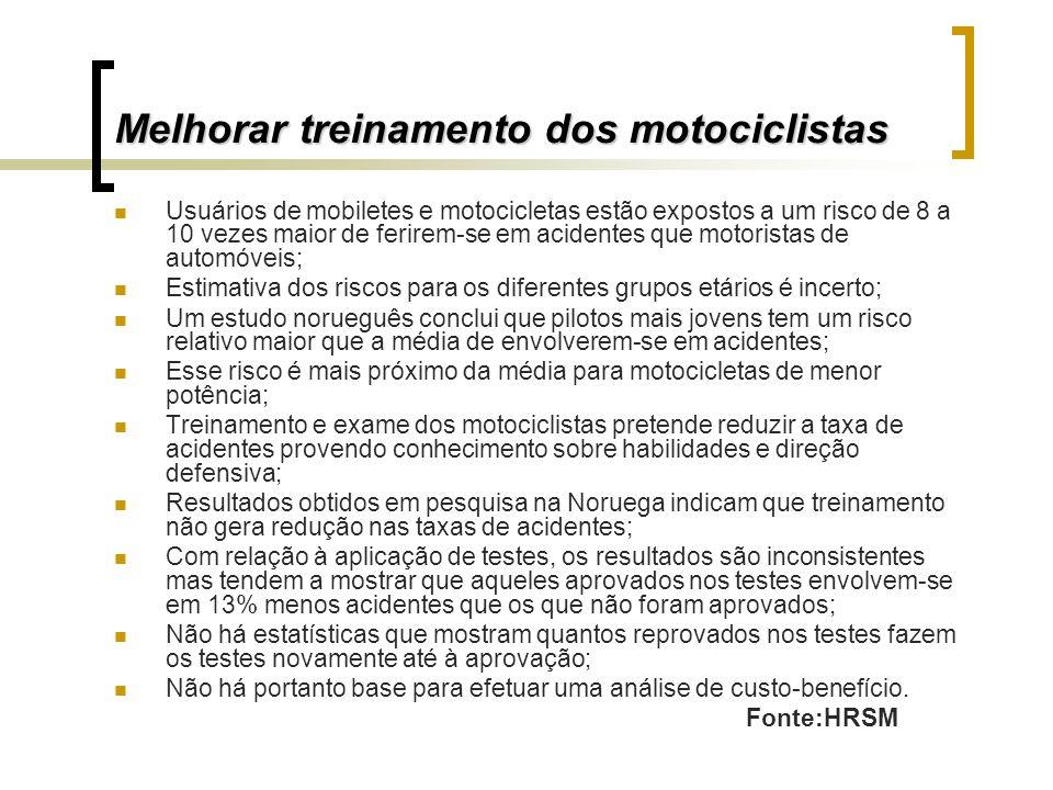 Melhorar treinamento dos motociclistas