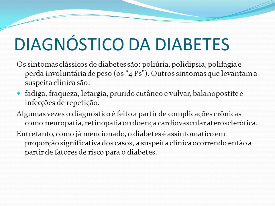DIAGNÓSTICO DA DIABETES