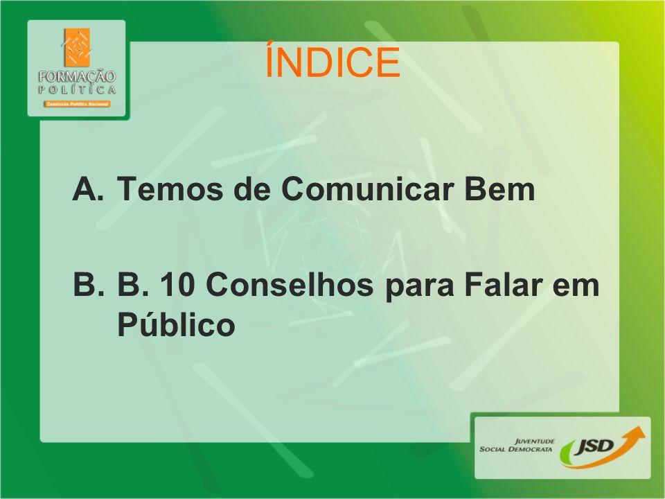 ÍNDICE Temos de Comunicar Bem B. 10 Conselhos para Falar em Público
