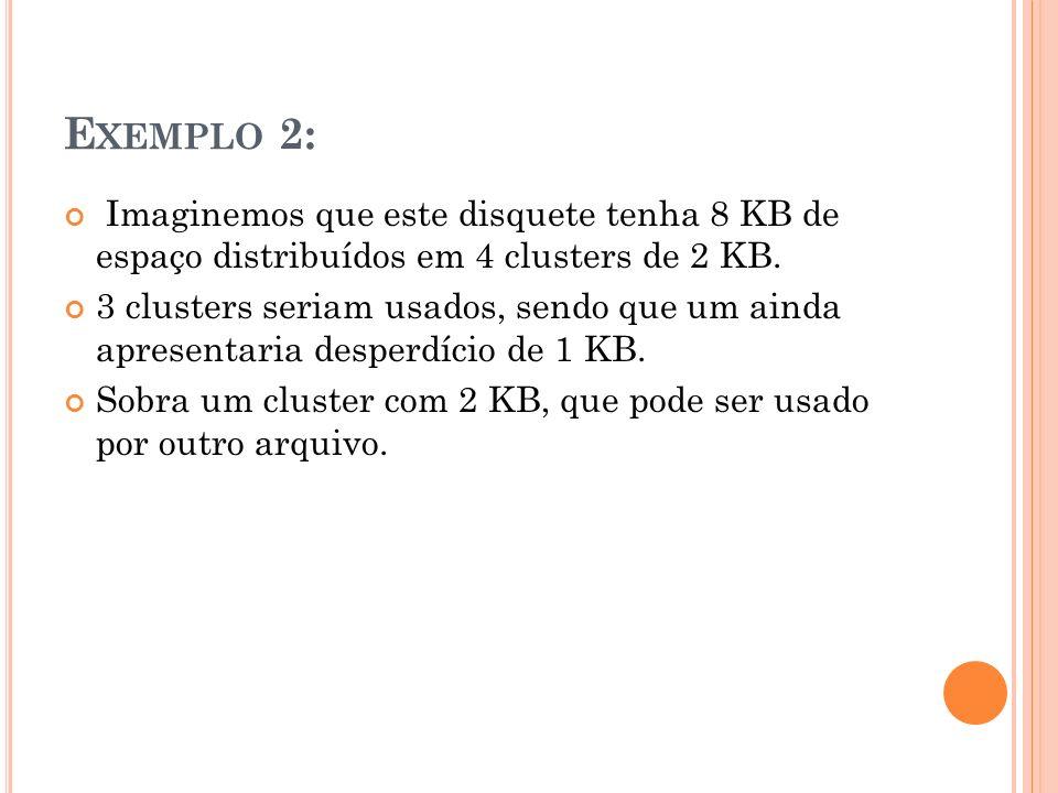 Exemplo 2: Imaginemos que este disquete tenha 8 KB de espaço distribuídos em 4 clusters de 2 KB.