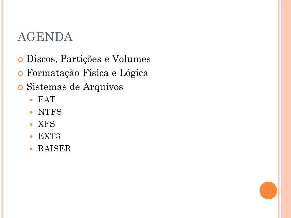 AGENDA Discos, Partições e Volumes Formatação Física e Lógica