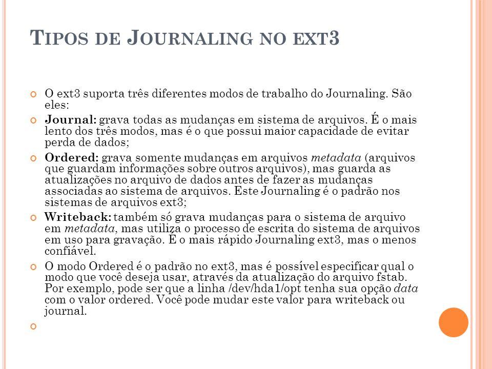 Tipos de Journaling no ext3
