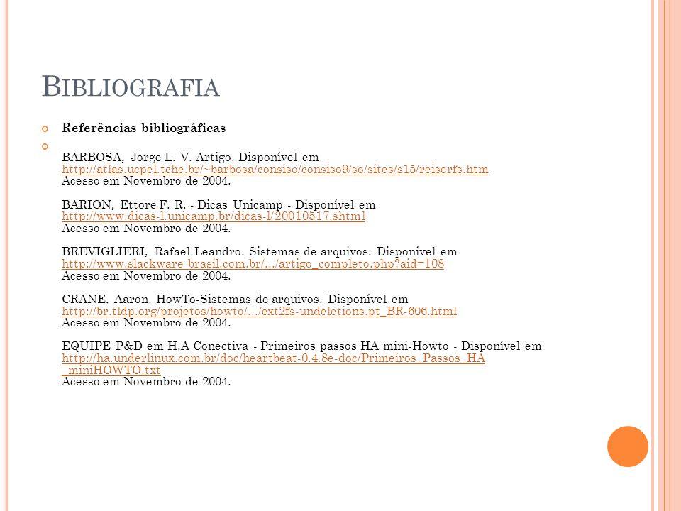 Bibliografia Referências bibliográficas
