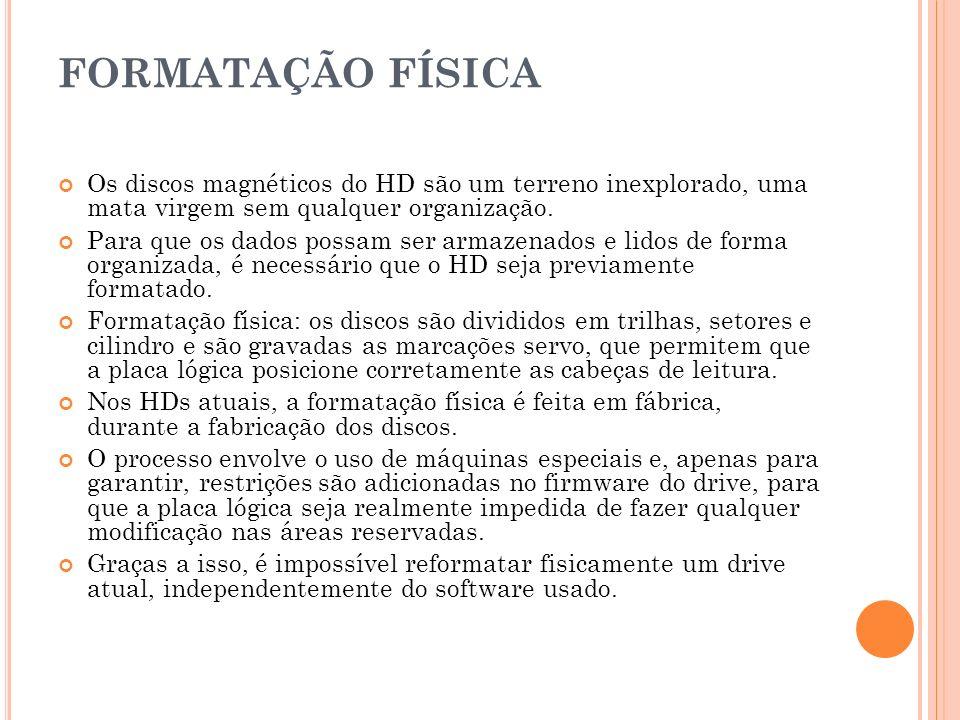 FORMATAÇÃO FÍSICA Os discos magnéticos do HD são um terreno inexplorado, uma mata virgem sem qualquer organização.