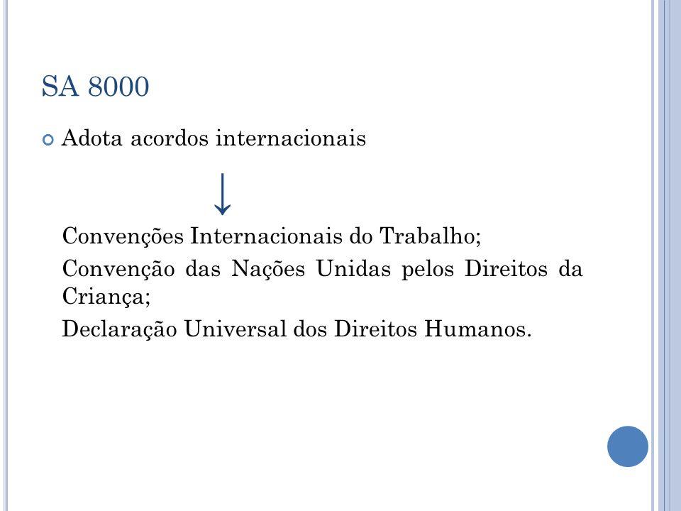 ↓ SA 8000 Adota acordos internacionais