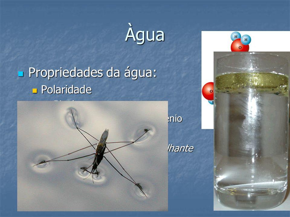 Àgua Propriedades da água: Polaridade Observação: Bipolar