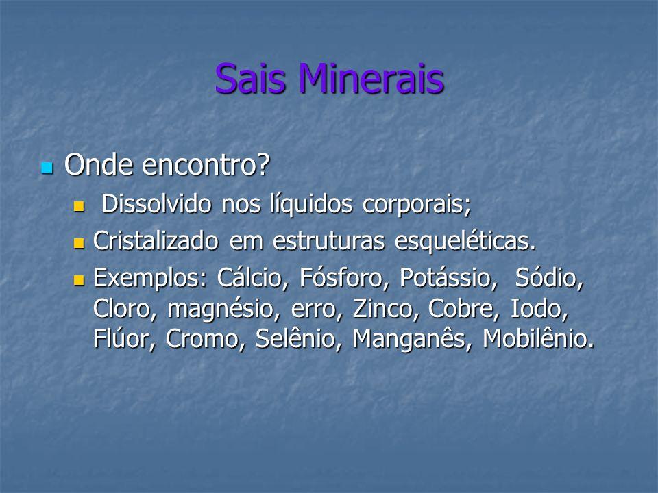 Sais Minerais Onde encontro Dissolvido nos líquidos corporais;