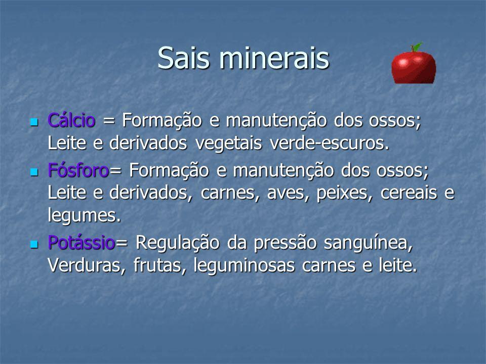 Sais minerais Cálcio = Formação e manutenção dos ossos; Leite e derivados vegetais verde-escuros.
