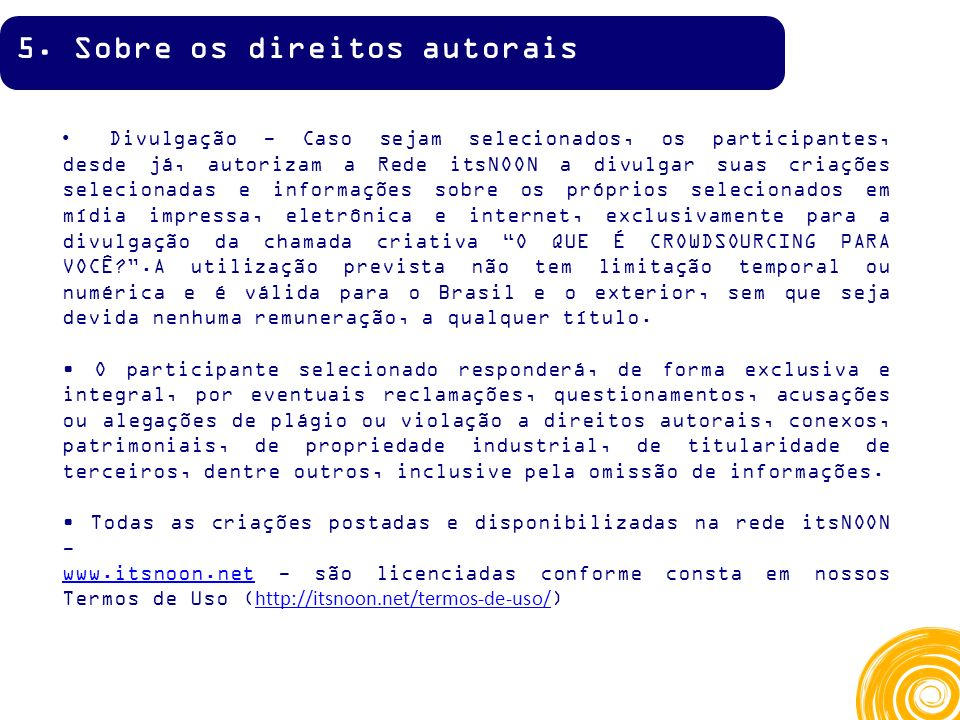 5. Sobre os direitos autorais