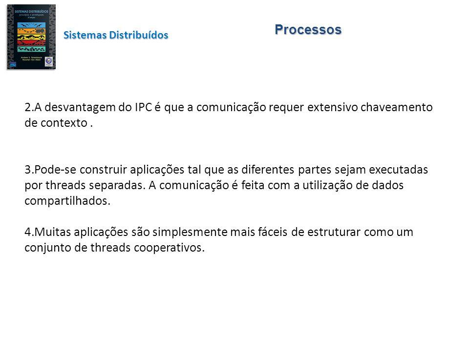 Processos Sistemas Distribuídos. A desvantagem do IPC é que a comunicação requer extensivo chaveamento de contexto .
