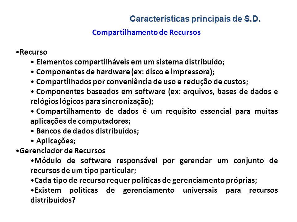 Características principais de S.D. Compartilhamento de Recursos