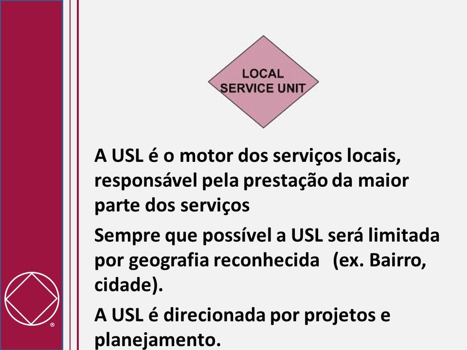 A USL é o motor dos serviços locais, responsável pela prestação da maior parte dos serviços Sempre que possível a USL será limitada por geografia reconhecida (ex.