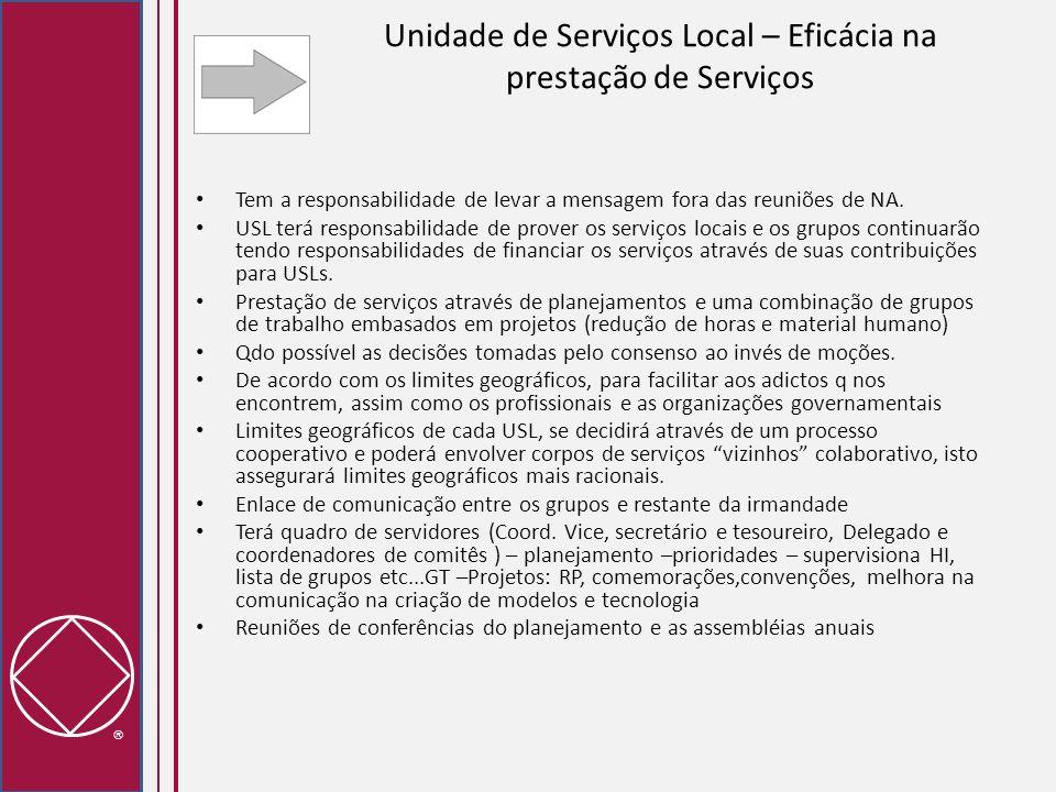 Unidade de Serviços Local – Eficácia na prestação de Serviços