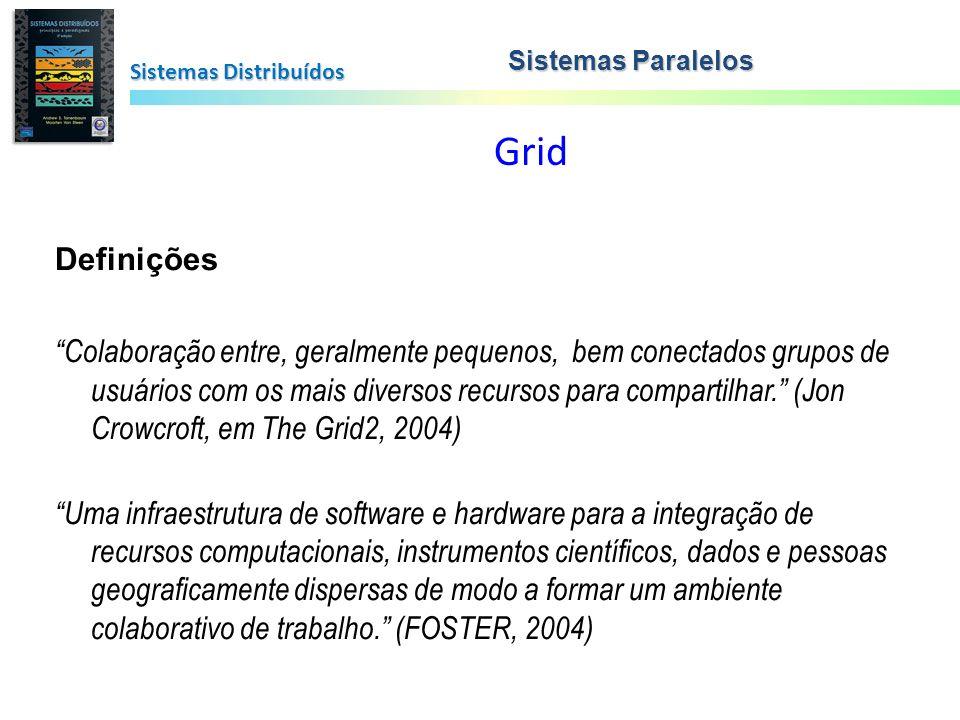 Sistemas Paralelos Sistemas Distribuídos. Grid. Definições.