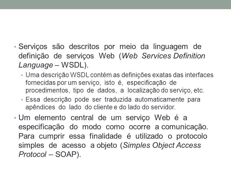 Serviços são descritos por meio da linguagem de definição de serviços Web (Web Services Definition Language – WSDL).