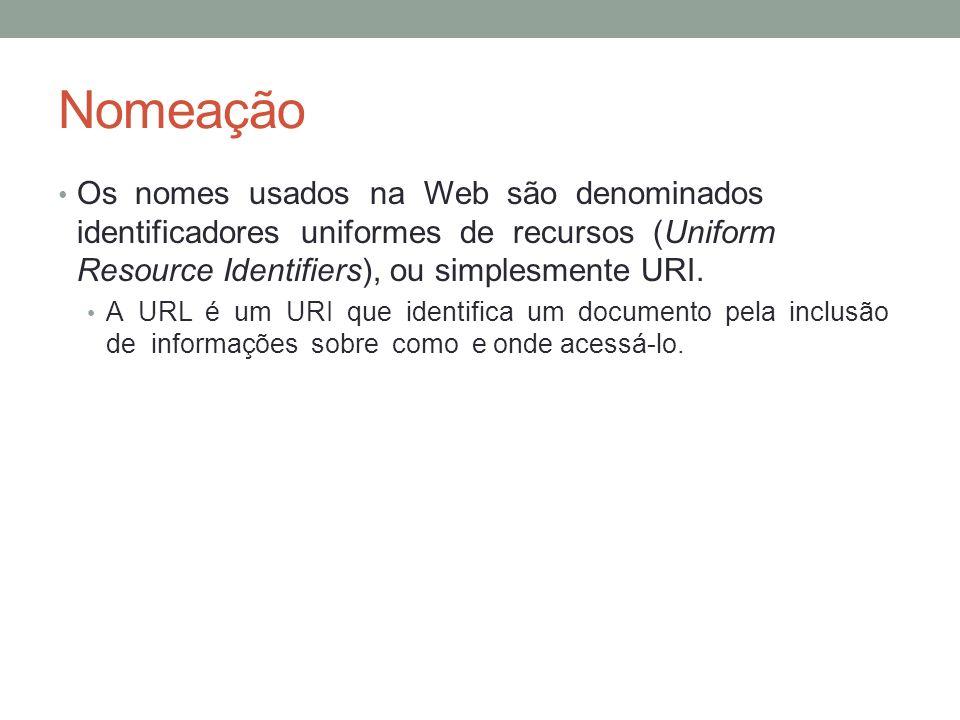 Nomeação Os nomes usados na Web são denominados identificadores uniformes de recursos (Uniform Resource Identifiers), ou simplesmente URI.