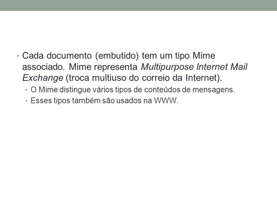 Cada documento (embutido) tem um tipo Mime associado