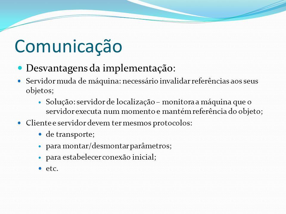 Comunicação Desvantagens da implementação: