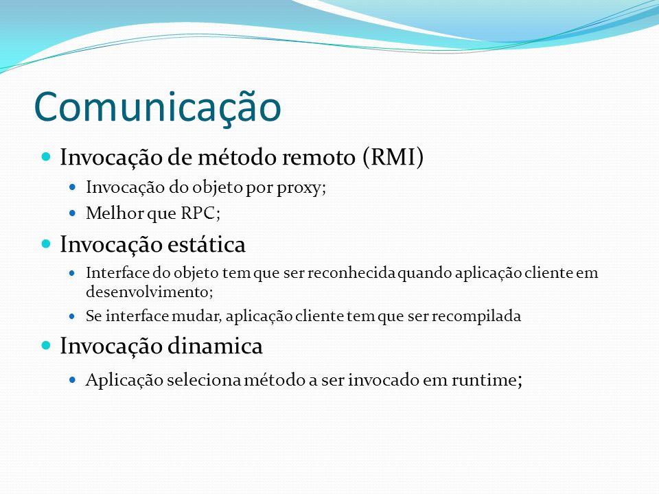 Comunicação Invocação de método remoto (RMI) Invocação estática