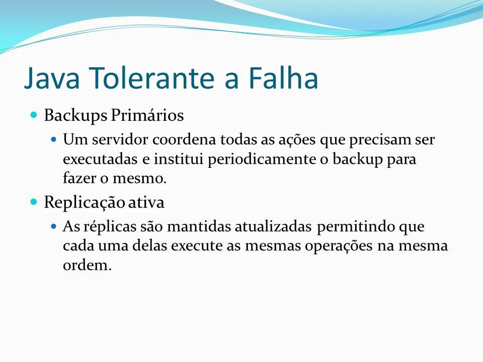 Java Tolerante a Falha Backups Primários Replicação ativa