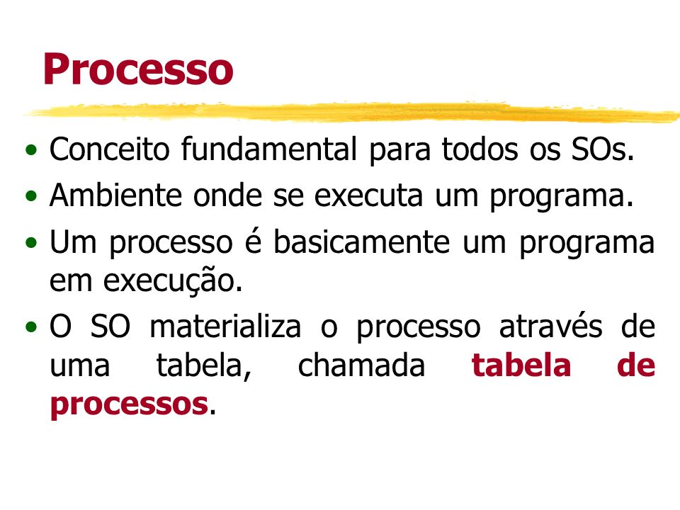Processo Conceito fundamental para todos os SOs.