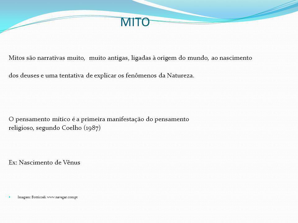 MITO Mitos são narrativas muito, muito antigas, ligadas à origem do mundo, ao nascimento.