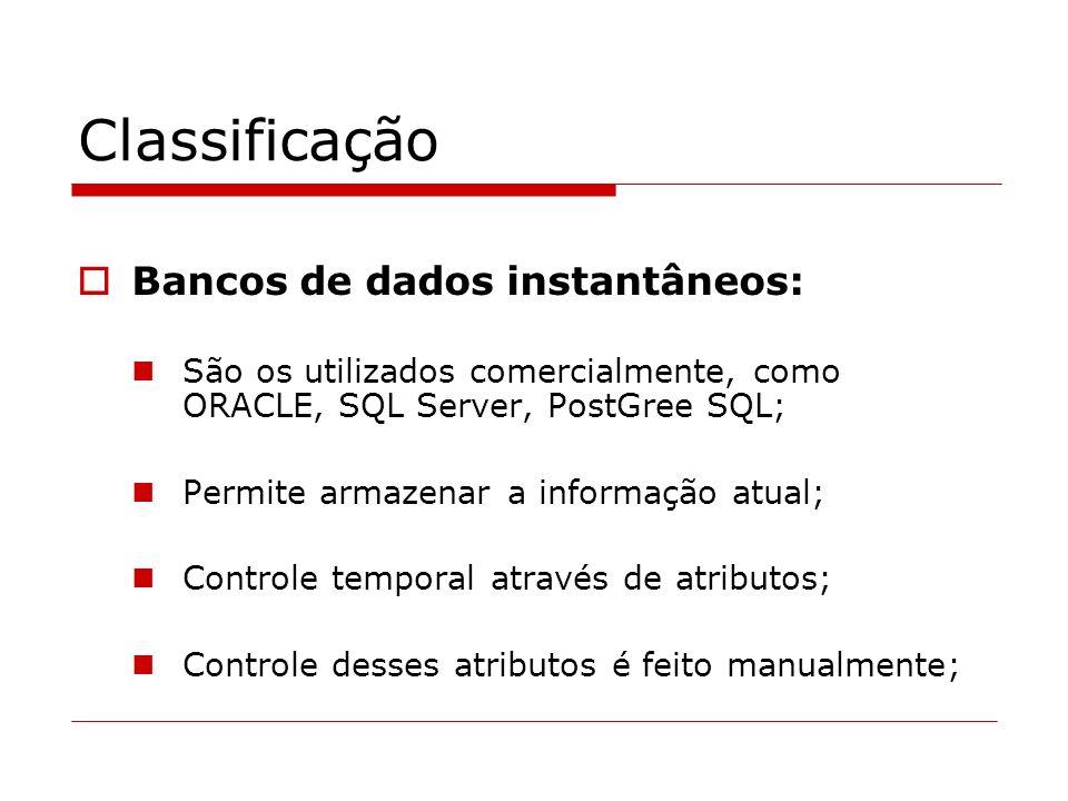 Classificação Bancos de dados instantâneos:
