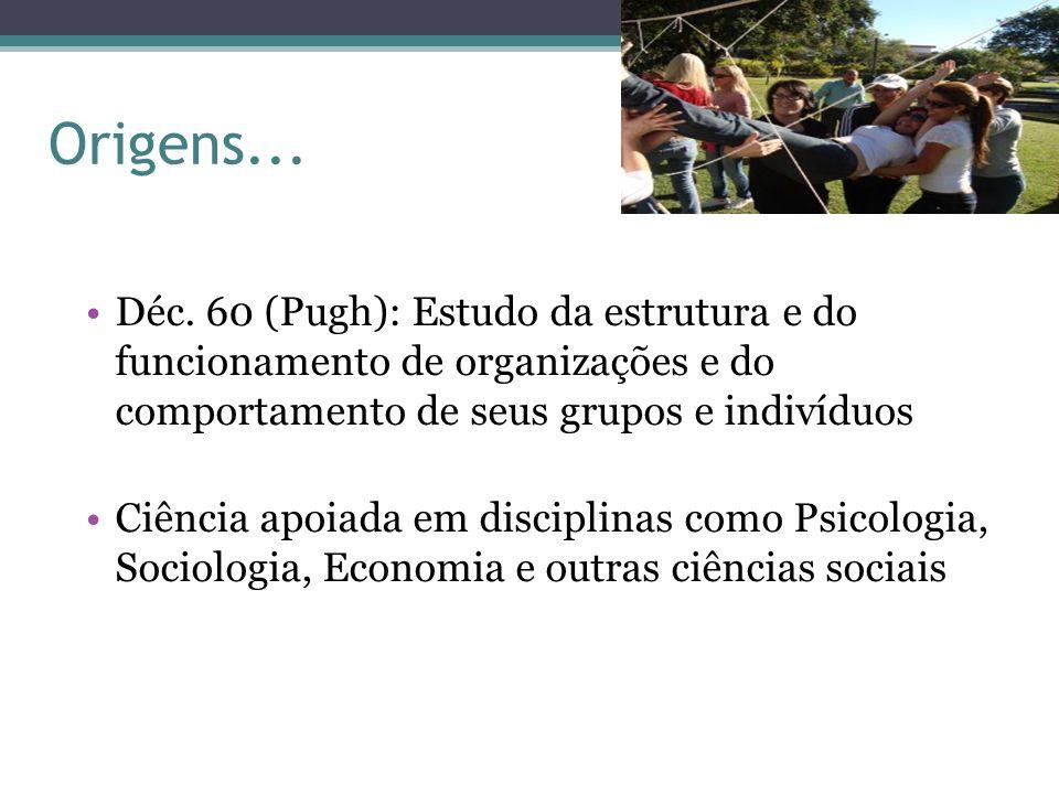 Origens...Déc. 60 (Pugh): Estudo da estrutura e do funcionamento de organizações e do comportamento de seus grupos e indivíduos.