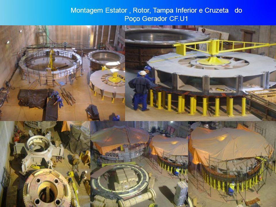 Montagem Estator , Rotor, Tampa Inferior e Cruzeta do Poço Gerador CF