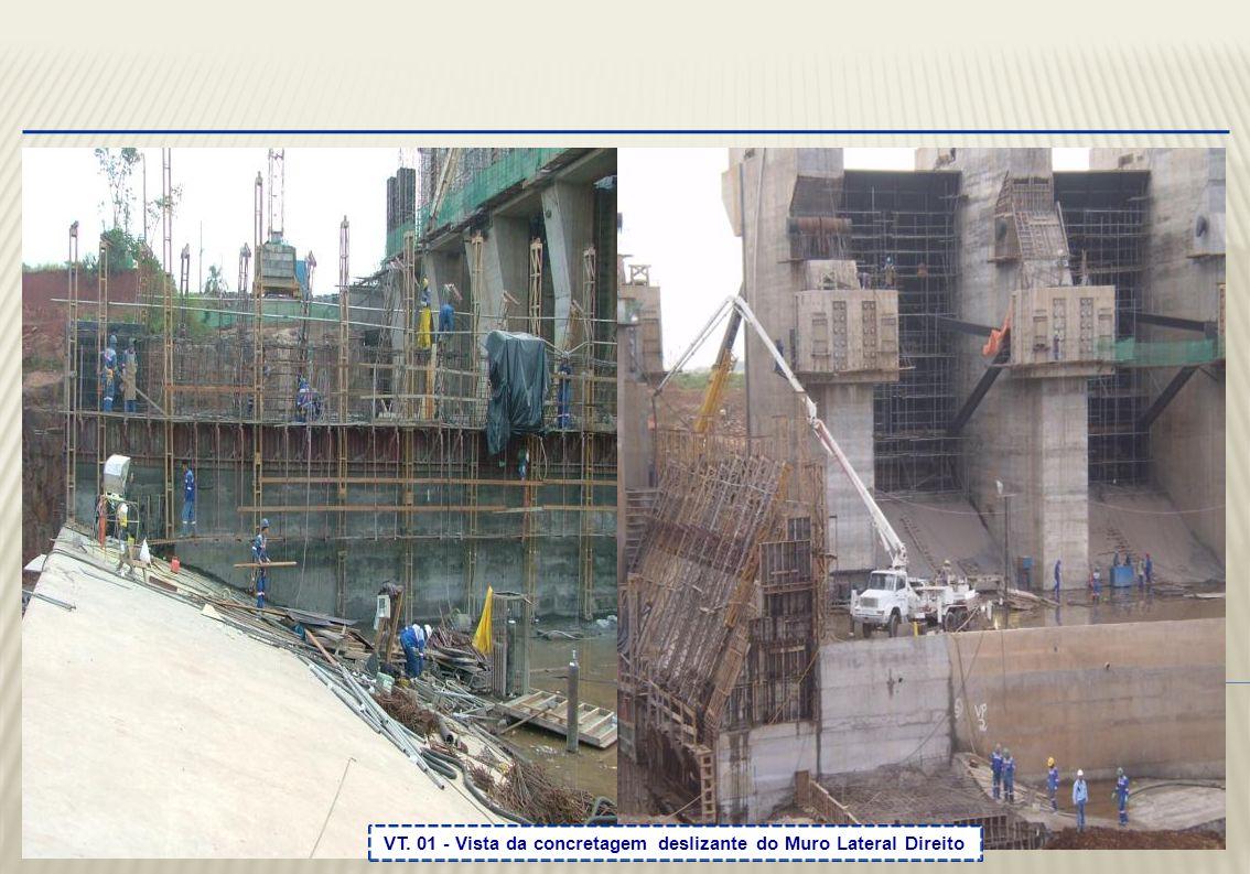 VT. 01 - Vista da concretagem deslizante do Muro Lateral Direito