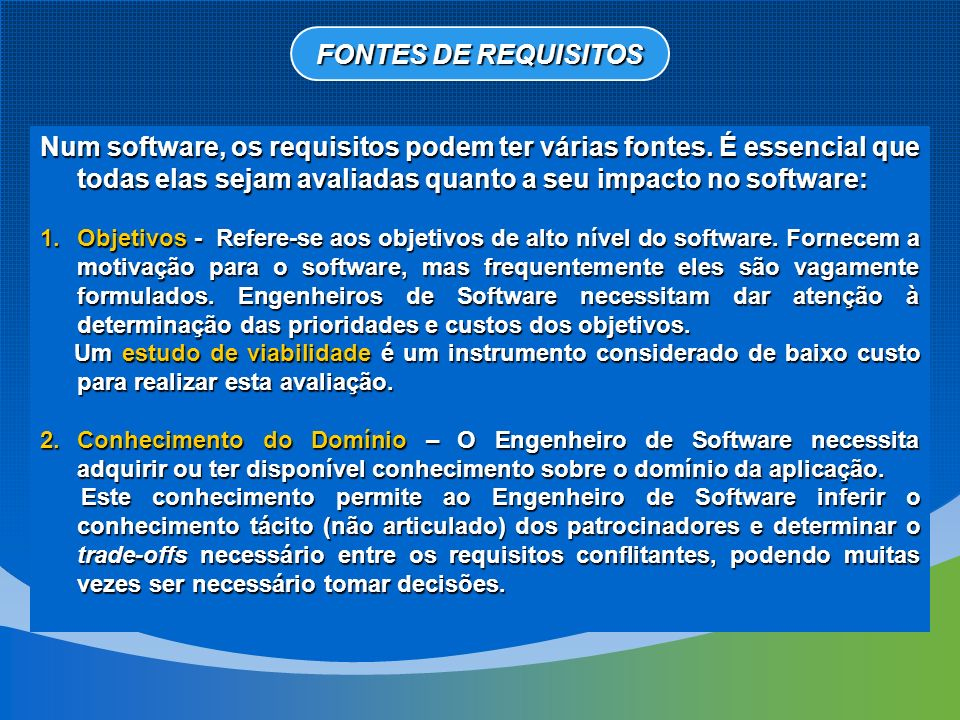 FONTES DE REQUISITOS