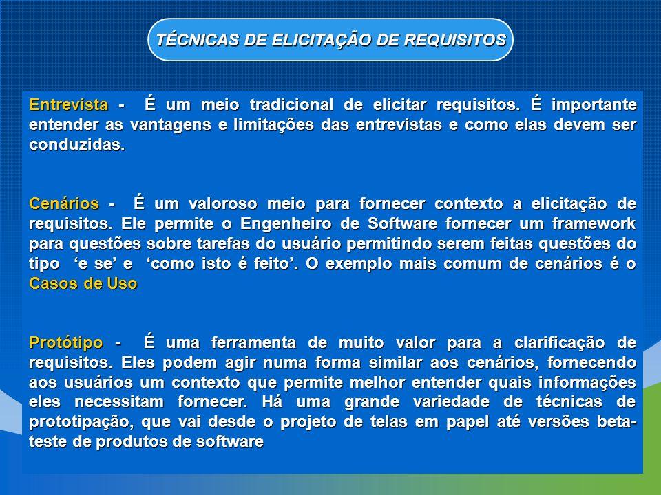 TÉCNICAS DE ELICITAÇÃO DE REQUISITOS
