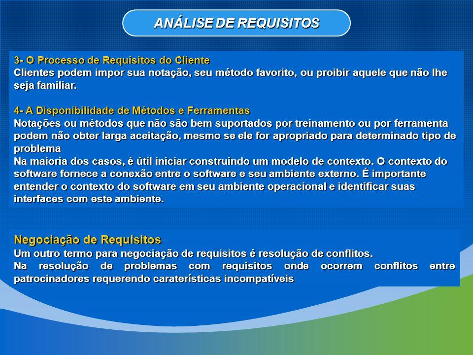 ANÁLISE DE REQUISITOS Negociação de Requisitos