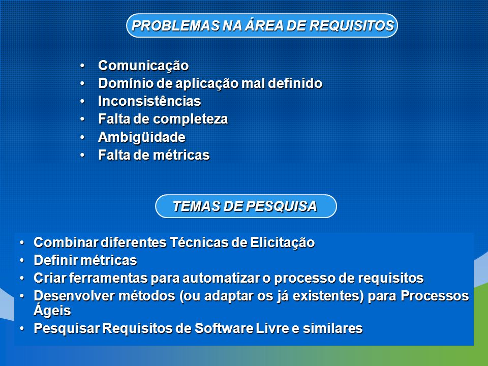 PROBLEMAS NA ÁREA DE REQUISITOS