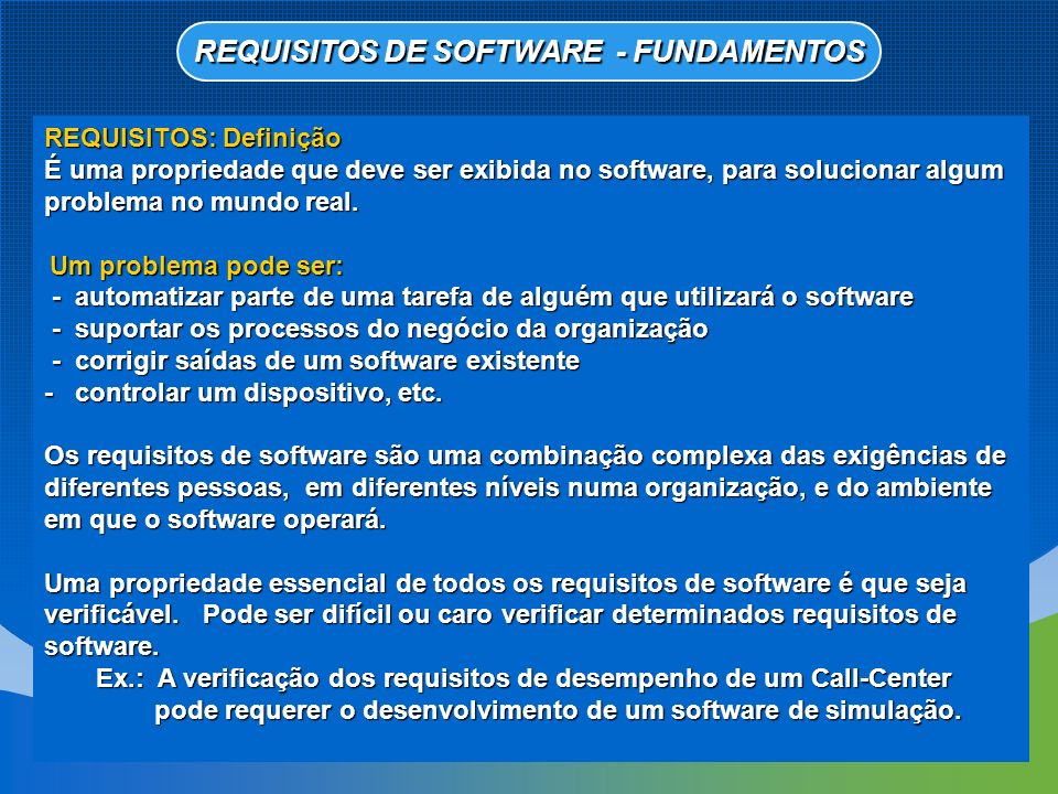 REQUISITOS DE SOFTWARE - FUNDAMENTOS