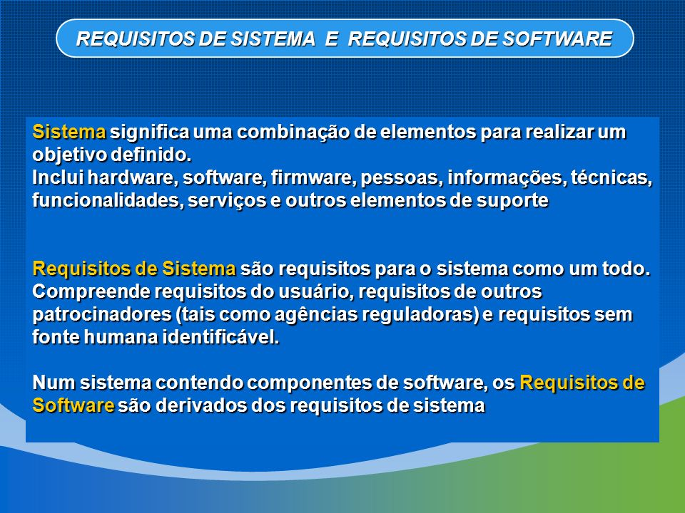 REQUISITOS DE SISTEMA E REQUISITOS DE SOFTWARE