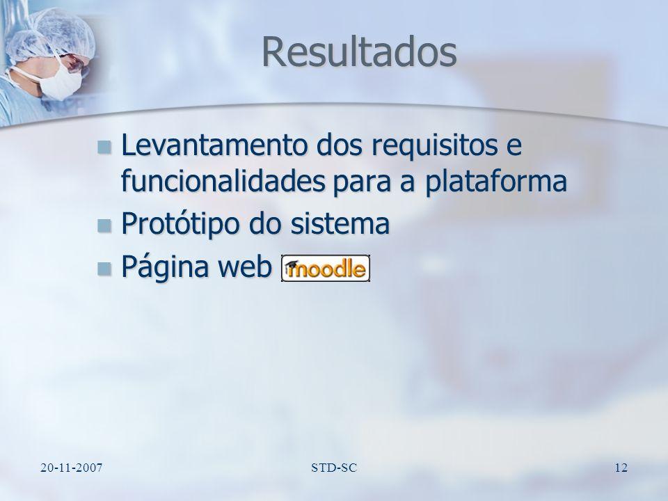 Resultados Levantamento dos requisitos e funcionalidades para a plataforma. Protótipo do sistema. Página web.