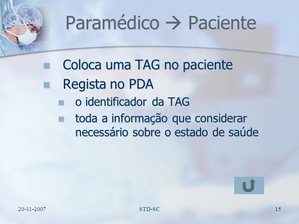 Paramédico  Paciente Coloca uma TAG no paciente Regista no PDA