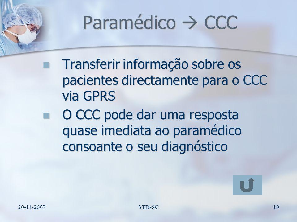 Paramédico  CCC Transferir informação sobre os pacientes directamente para o CCC via GPRS.