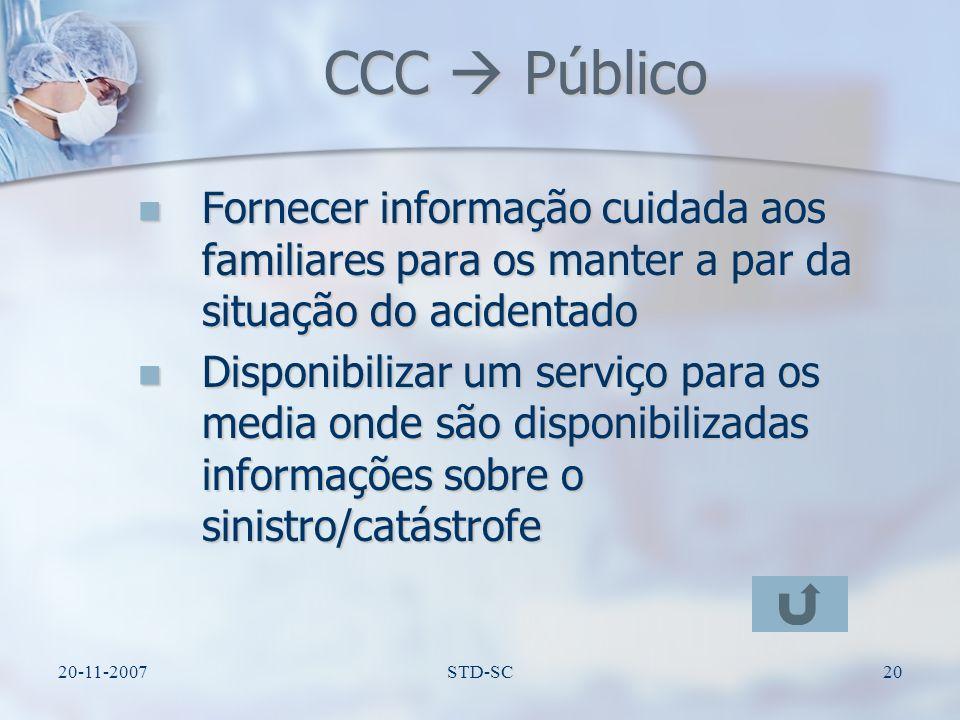 CCC  Público Fornecer informação cuidada aos familiares para os manter a par da situação do acidentado.