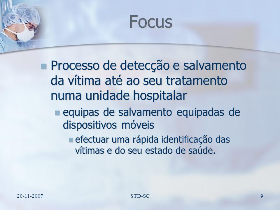 Focus Processo de detecção e salvamento da vítima até ao seu tratamento numa unidade hospitalar.