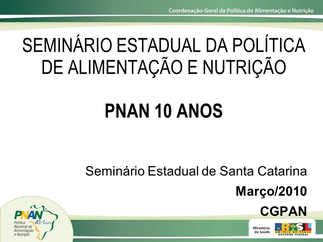 SEMINÁRIO ESTADUAL DA POLÍTICA DE ALIMENTAÇÃO E NUTRIÇÃO PNAN 10 ANOS