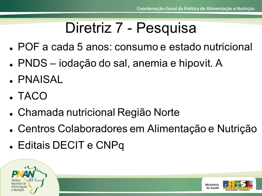 Diretriz 7 - Pesquisa POF a cada 5 anos: consumo e estado nutricional